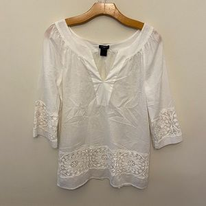 Ann Taylor White 3/4 Sleeve Eyelet Lace Tunic Top